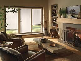 three panel patio door with blinds