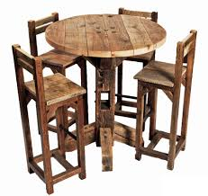 Furniture Old Rustic Small High Round Top Kitchen Table And Chair