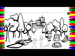 How To Draw And Color Boys And Girls In Park Playground Coloring