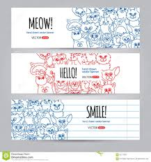Funny Face Templates Cats Banners Template Stock Vector Illustration Of Frame
