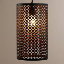 moroccan inspired lighting. black and copper cylinder sofia pendant lamp moroccan inspired lighting