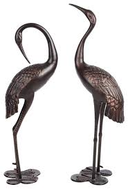 bronze garden crane pair statue