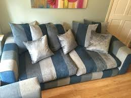blue striped sofa blue and white