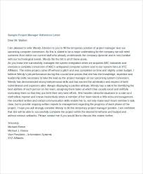 Letter Of Recommendation For Project Manager Manager Reference Letter Templates 7 Free Word Format Download