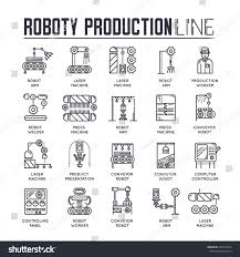 Assembly Line Design Pattern People Working On Robots Assembly Line Stock Vector Royalty