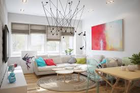 unique round area rug with metal shaped chandelier for simple decorating ideas for small living rooms with modern roman shades