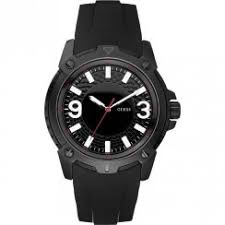 guess guess verve black dial rubber strap mens watch w10251g1