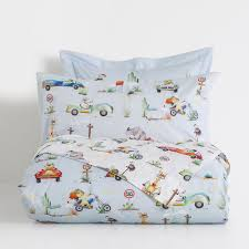 animals and transport percale cotton duvet cover