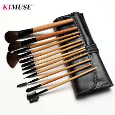 kimuse professional cosmetic 12pcs face makeup brush set with black leather bag make up brushes toiletry