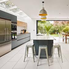modern grey open plan galley kitchen