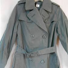 vintage 60s womens military army green trench coat rain coat jacket uniform on down cotton clothing petite fashion festival costume wear