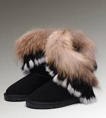UGG Fox Fur Short 8288 Black Boots