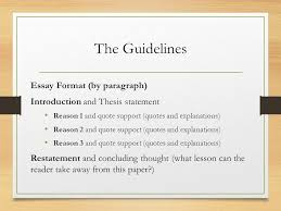 macbeth essay it s not that scary ppt  the guidelines essay format by paragraph