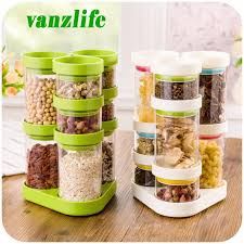 2018 whole a vanzlife kitchen storage container rotating plastic candy tank creative dry cereals storage bottles grain storage jar from galry