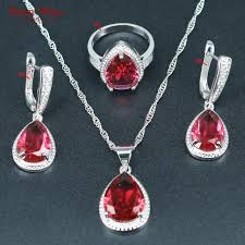 water drop 925 silver jewelry rose red crystal wedding jewelry set for women necklace earrings rings pendants diamond wedding bands jewellers from