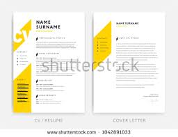 Yellow Cv Curriculum Vitae Cover Letter Stock Vector 2018