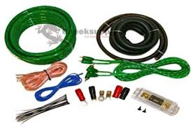 0 gauge amplfier power kit for amp install wiring complete 1 0 ga cables 6500w green with blister packaging