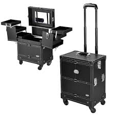 aw 14x9x20 black rolling makeup trolley train case artist cosmetic organizer carry on