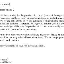 Resume Rejection Letter Sample Job Rejection Letter Adapted From Doss Glover
