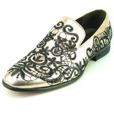 Aurelio Garcia Designer Shoes Fi7358 Gold Leather With Black Embrodery Slip On Fiesso By Aurelio Garcia