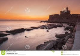 Fortress Of St. Nicholas At Dawn. Rhodes Island. Greece Stock Image - Image  of europe, fort: 65460563