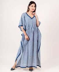 White And Blue Kaftan Dress With Adjustable Waist Line