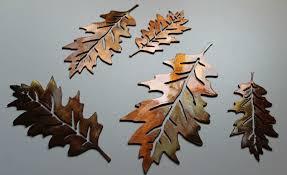 metal leaf wall art inspirational metal wall art veined oak leaves set of 10 by