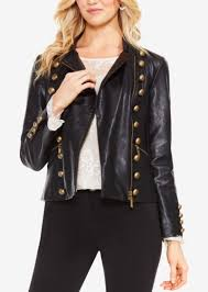 faux leather military jacket vince camuto
