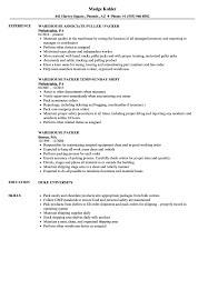 Warehouse Associate Resume Sample Packer Job Skills Resume Therpgmovie 98