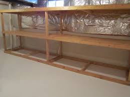 wooden basement storage shelves