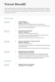 Work Resume Samples Best of Personal Banker Resume Samples VisualCV Resume Samples Database