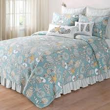 b smith quilts baby blue gold white twin quilt beach seaside themed bedding nautical seashell starfish b smith