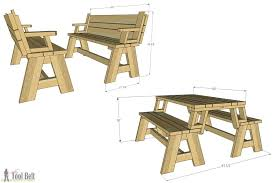 picnic table plans convertible picnic table and bench 8 picnic table plans pdf