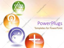 Powerpoint Template Four Multi Coloured Circular Tiles