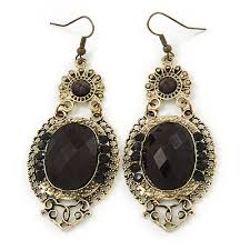 victorian style black acrylic bead crystal chandelier earrings in antique gold tone 80mm l