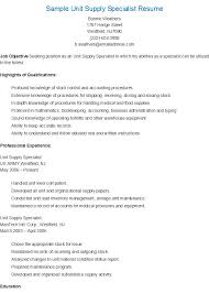 Explore Resume Cv, Sample Resume, and more! Sample Unit Supply Specialist  Resume