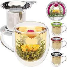 Image Diy Teabloom Double Wall Glass Mug With Infuser Lid 2 Gourmet Tea Flowers 15 Amazoncom Tea Lover Gift Amazoncom