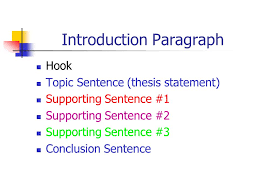 paragraph essay introduction body paragraph body paragraph  4 introduction paragraph hook topic sentence thesis statement supporting sentence 1 supporting sentence 2 supporting sentence 3 conclusion sentence