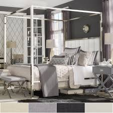 iNSPIRE Q Solivita Chrome Metal Canopy Bed with Vertical Channel ...