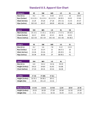 American Female Size Chart 28 Printable Standard U S Apparel Size Chart Forms And