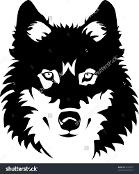wolf face black and white.  Black Vector Illustration Of Wolf Face Black And White Tattoo  33312073  To Pinterest