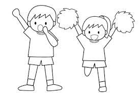 運動会応援する子供たち白黒 Popイラスト素材 無料ダウンロード