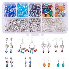 sunnyclue 1 set 214pcs chandelier earring drop and charm pendant diy jewelry making starter kit include drop shell heart beads chandelier components link