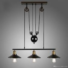 3heads vintage pulley pendant loft ceiling light hanging lamp lighting fixtures pulley lift chandelier industrial kitchen light fixtures rh pulley