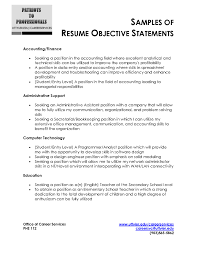 Personal Objectives For Resumes Resume Objective Statement Sample