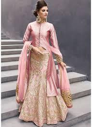 Pick Online | Mesmerizing Light Pink Jacket Style Long Embroidered Lehenga  | 551176