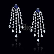 vintage elegant long cubic zirconia dangle tassel earrings royal blue
