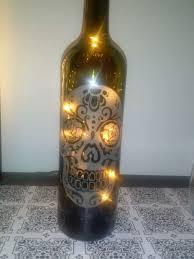 etched glass day of the dead día de muertos sugar skull wine bottle