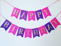 Purple Happy Birthday Banner Pink And Purple Birthday Banner Girl Birthday Banner Happy Birthday