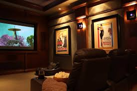 wall accent lighting. Home Theater Decorated With Wall Posters And Using Accent Lighting : Indoor For A I